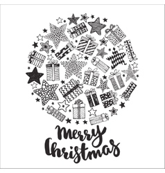 Christmas greeting card with hand drawn holiday vector