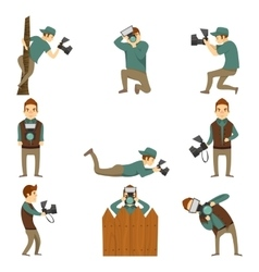 Photographer characters isolated icon set vector