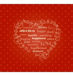 The heart on the red background vector image