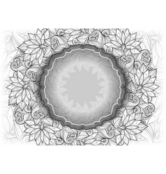 Monochrome floral template with place for text vector
