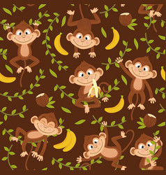 seamless pattern with monkey on brown background vector image