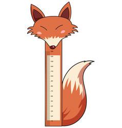 Height measurement chart with wild fox vector