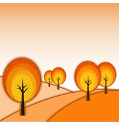 Colorful autumn tree landscape vector