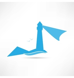 Lighthouse landscape blue icon vector
