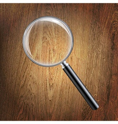 Wooden background with magnifying glass vector