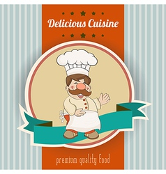 Retro with cook and delicious cuisine message vector