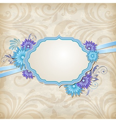 Vintage background with label and blue flowers vector image