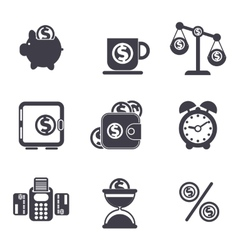 Set of money finance banking icons vector