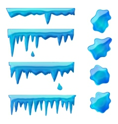 Blue icicles and frozen puddles vector