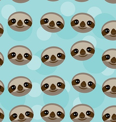 Seamless pattern three-toed sloth muzzle on blue vector