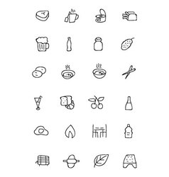 Food hand drawn outline icons 11 vector