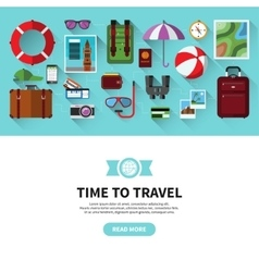 Time to travel flat design banner vector