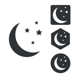 Night icon set monochrome vector