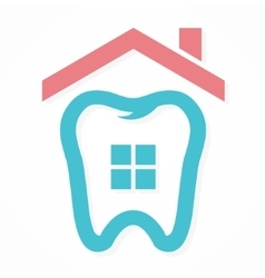 Logo combination of house and tooth vector