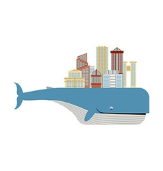 City on back of whale metropolis on big fish vector