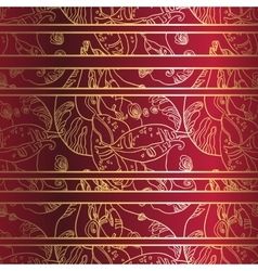 Golden laceornament on deep red background vector
