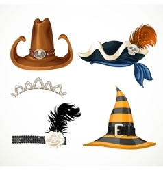Set of hats for the carnival costumes - retro vector