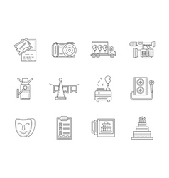 Black flat line party icons collection vector