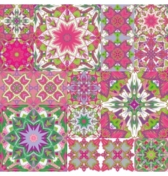 Seamless patchwork background oriental ornament vector