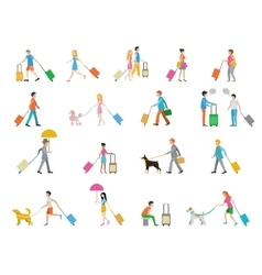 Travelers with suitcases on white background vector image