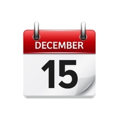 December 15 flat daily calendar icon vector