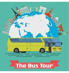 The bus tour of popular familiar landmarks vector