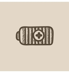 Fully charged battery sketch icon vector