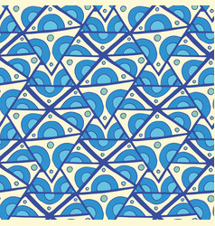 Abstract triangle seamless pattern blue doodle vector