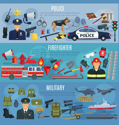 banners firefighter military and police vector image