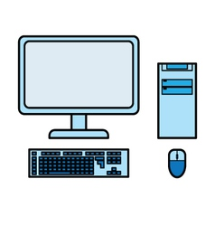 Blue desktop computer vector