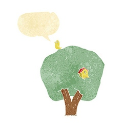 Cartoon tree with birdhouse with speech bubble vector