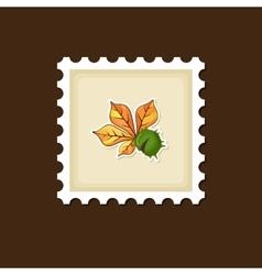Chestnut with leaf stamp harvest thanksgiving vector