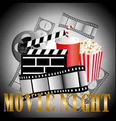 cinema background with popcorn box film strip vector image