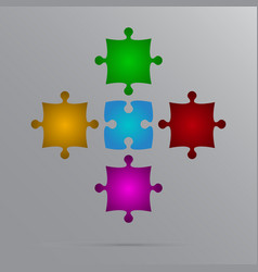 Color 5 puzzles pieces jigsaw vector