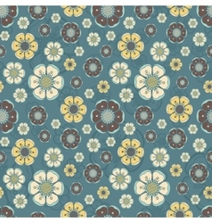 Fashion pattern with flowers in retro color vector image vector image