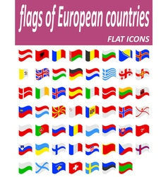 Flags of european countries flat icons vector