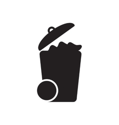 Flat icon in black and white garbage vector