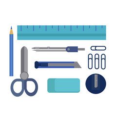 Flat office supplies vector