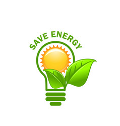 green leaf sung and lamp save energy icon vector image vector image