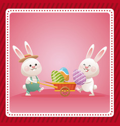 Happy easter couple bunny egg celebration vector