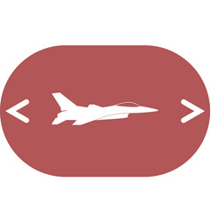 Jet fighter icon airplane silhouette isolated on vector