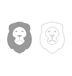 Lion head the grey set icon vector