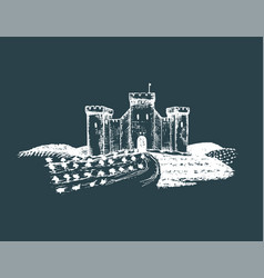 old castle gothic fortress vector image
