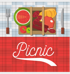 Picnic basket food fork and knife poster vector