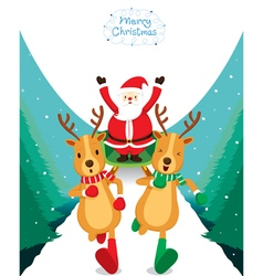 Reindeer Running With Santa Claus vector image vector image