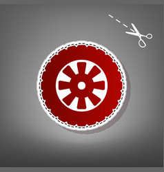 Road tire sign red icon with for applique vector