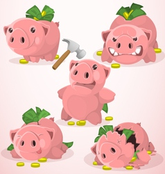Set of piggy bank in different situations vector