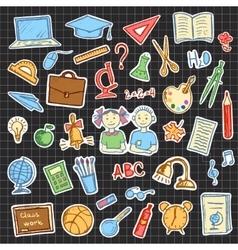 Set of school sign and symbol doodles elements vector