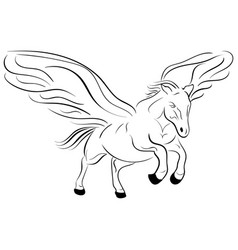 silhouette of a running pegasus sketch vector image vector image