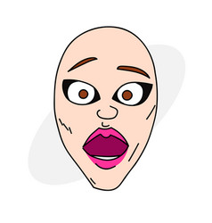 surprised female face vector image